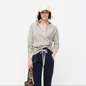 NEW J.Crew garment dyed v-neck hoodie sweatshirt